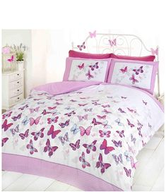 Beautiful butterflies flutter by on this white and pink duvet cover. Reversible duvet cover - it's like getting two designs for the price of one! 1 x Single Duvet Cover x and 1 Pillowcase x Material: polyester cotton Machine washable, can be tumble dried. King Size Duvet Covers, Double Duvet Covers, White Duvet Covers, Luxury Duvet Covers, Duvet Cover Sizes, Single Duvet Cover, Comforter Cover, Quilt Cover Sets, Bed Duvet Covers