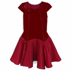 Isobella & Chloe Girls Red Royal Jewels Christmas Dress - Drop Waist