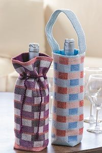 Weave up these quick wine bags, perfect for gifts, picnics, and dinner parties. What colors will you weave?