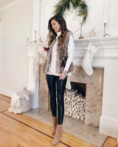 new years eve outfit ideas - white turtleneck sweater with faux fur vest black vegan leather leggings and sole society walnut simeona block heel booties Fur Vest Outfits, Leggings Outfit Winter, Leather Leggings Outfit, Nye Outfits, New Years Eve Outfits, Stylish Outfits, Fashion Outfits, Vegas Outfits, Club Outfits
