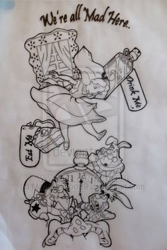 alice in wonderland sketch tattoo - Google Search