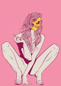 Skull Lady – Illustration by PudgyDevilKid Arte Pop, Art Et Design, Horror Comics, Poster S, Dope Art, Skull And Bones, Skull Art, Graphic, Sailor Moon