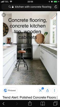 Concrete Kitchen, Concrete Floors, Kitchen Tops, Wooden Cabinets, Polished Concrete, Tile Floor, Flooring, Kitchen Desks, Concrete Floor