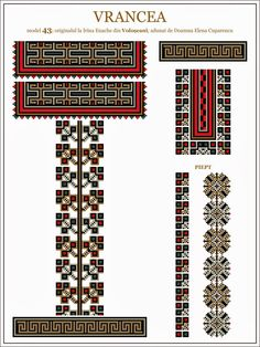 Semne Cusute: ie din MOLDOVA, Vrancea, Voloscani Hungarian Embroidery, Folk Embroidery, Butterfly Embroidery, Embroidery Patterns, Machine Embroidery, Cross Stitch Borders, Cross Stitch Patterns, Moldova, Antique Quilts