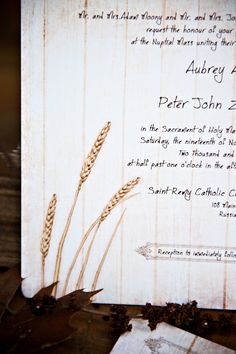 Rustic Wedding Invitations Wheat on Vintage Wood SAMPLE