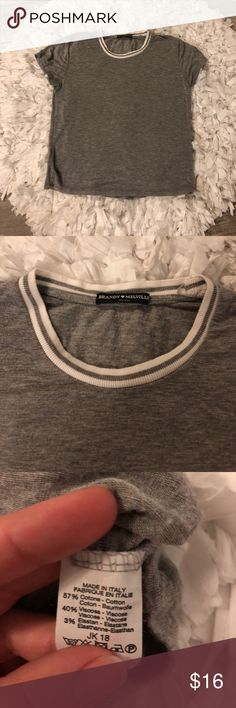 [Brandy Melville] Crop Top Grey crop top with white striped neckline by Brandy Melville. One size fits most but more like a medium. Brandy Melville Tops Crop Tops