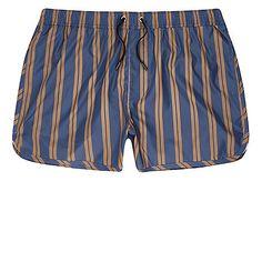 Blue and camel stripe runner swim trunks