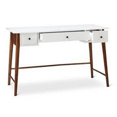 Porter Mid Century Modern Two-Tone Writing Desk -White/Brown : Target