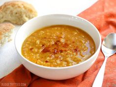 Curried Red Lentil and Pumpkin Soup - BudgetBytes.com