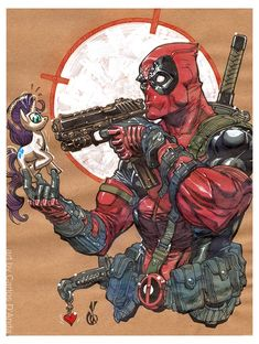#Deadpool #Fan #Art. (Deadpool and My Little Pony) By: Carlos D'Anda. (THE * 5 * STÅR * ÅWARD * OF: * AW YEAH, IT'S MAJOR ÅWESOMENESS!!!™)[THANK Ü 4 PINNING<·><]<©>ÅÅÅ+(OB4E)
