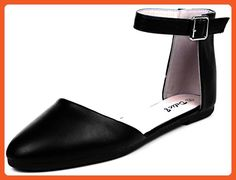 058c6344173608 Enimay Women s Classic Casual Ballet Flat with Ankle Buckle Fashion Dress Shoe  Black Size 6 -