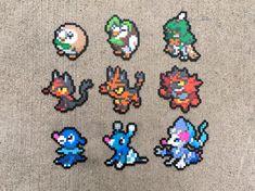 Gen 7 Alola Starters Rowlet Dartrix Decidueye by Pixelixir Pokemon Perler Beads, Pyssla Pokemon, Pearler Beads, Fuse Beads, Perler Bead Designs, Perler Bead Art, Sprites Pokemon, Pikachu Raichu, Motifs Perler