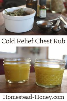 This all-natural cold relief chest rub, made with beeswax and herbal infused oils is a great remedy to have on hand for winter coughs and congestion. | Homestead Honey