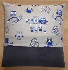 Housse de coussin en tissu à motifs hiboux : Textiles et tapis par alsace-gourmets
