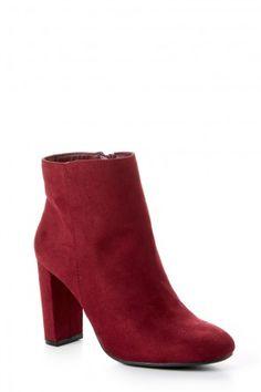 City Grid Burgundy High Heel Ankle Boots at reddressboutique.com