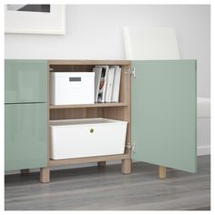 IKEA - BESTÅ Storage combination with drawers walnut effect light