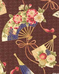 Japanese Import - Hanabi - Zephyr Fans - Mahogany Brown/Gold