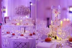 Huckleberry Karen: Babies breath and submerged orchid centerpieces.