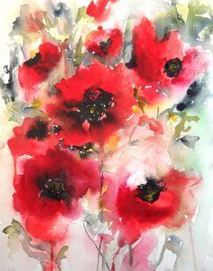 #Blumen #Aquarell #Rot #Mohnblume #flowers #fleur