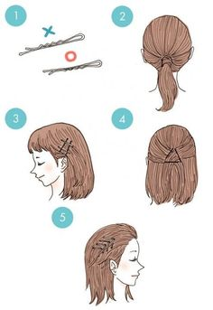 DIY tutorials on how to style your hair in 3 minutes. Quick and easy hairstyles. Techniques to style your hair and look elegant in no time. Cute Simple Hairstyles, Quick Hairstyles, Fringe Hairstyles, Hairstyles With Bangs, Child Hairstyles, Hair Looks, Hair Lengths, Hair Inspiration, Bobby Pins