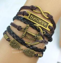 Bronze bracelets infinite anchor owls believe  Black by giftdiy, $6.99