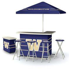Ncaa Washington Huskies Portable Deluxe Tailgate BAR Stool Umbrella Side Table | eBay