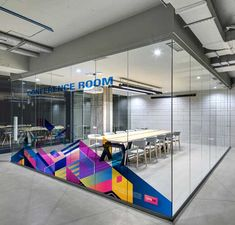 Vinyls on glass spaces can be used to improve the feel of the space and bring life to otherwise mundane areas. Corporate Office Design, Corporate Interiors, Office Interiors, Corporate Branding, Industrial Office Design, Office Interior Design, Interior Design Magazine, Office Designs, Commercial Interior Design