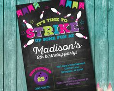 Girly Girl Bowling Birthday Party Invitation. Bright by cohenlane