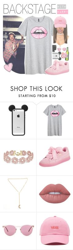 """""""♛ backstage with harry"""" by fangirlsets ❤ liked on Polyvore featuring GoPro, BaubleBar, Puma, Lime Crime, Oliver Peoples and Vans"""