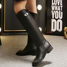 awesome Shoespie Black Knee High Flat Boots Black Knees, Flat Boots, Girls Shoes, Designer Shoes, Riding Boots, Booty, Flats, Elegant, Nice