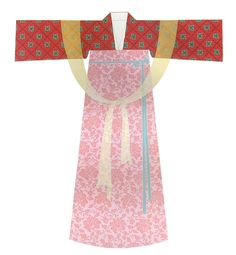 Tang Dynasty. Jacket and skirt with cape. 132 cm sleeve span and 149 cm length. Reconstruction based on an ancient drawing. [Figure 161 in 5000 Years of Chinese Costume.]