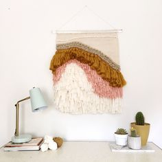 Large textural woven wall hanging weaving by Rachel Denbow, author of DIY Woven Art.
