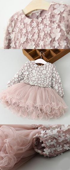 A-Line Round Neck Long Sleeves Blush Tulle Flower Girl Dress with Lace, cute princess birthday dresses with sleeves, lovely blush little girl dresses #littlegirldress