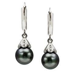 White Gold Diamond Illusion Round Black South Sea Tahitian Pearl High Luster Lever Back Earring AAA Quality. Pearls is June Birthstones Black Pearl Earrings, Tahitian Pearl Earrings, Mother Of Pearl Earrings, Earrings Uk, Kids Earrings, Pearl Gemstone, Tahitian Pearls, Best Diamond Rings, White Gold Diamonds