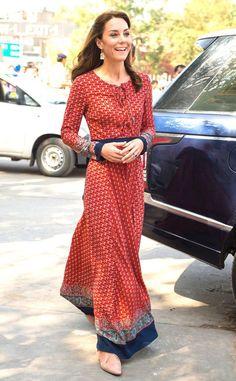 Kate Middleton style, red maxi women's fashion dress outfit