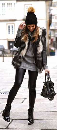 Fur vests are perfect for winter date night outfits!