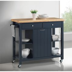 Lowest price online on all Coaster Kitchen Cart in Navy Blue - 102675
