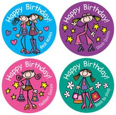 Happy Birthday stickers with designs made suitable for older children      Size: 46mm     40 stickers of 4 mixed designs per pack     Ref: BB33  Price     £3.95 FREE UK DELIVERY     (£3.29 ex VAT)