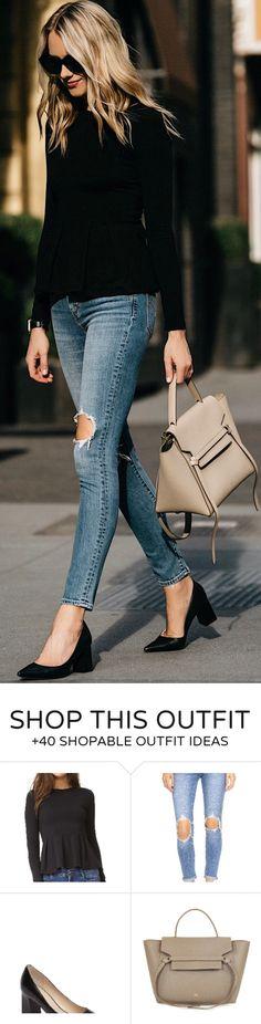 #spring #fashion Black Knit & Destroyed Skinny Jeans & Black Pumps & Beige Leather Tote Bag