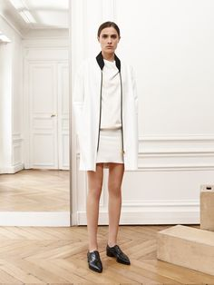 Bouchra Jarrar Spring 2016 Ready-to-Wear Fashion Show  ...this would be a cool version of the Sakura Bomber Jacket... elongate it, use a black zipper, collar & cuffs and white body...yesss...