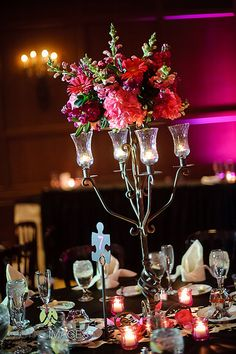 Pink 1 wedding colors pinterest wedding and wedding iron candelabra centerpiece with light dark pink hydrangea and pink gerber daisies lasting images junglespirit Choice Image