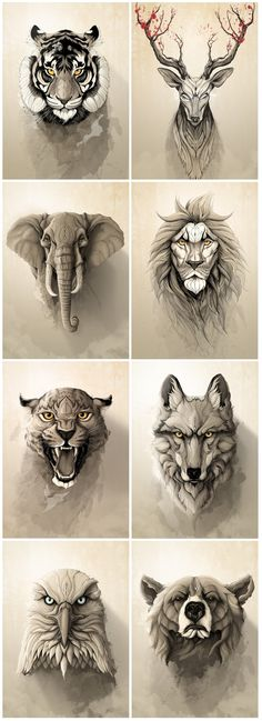 """Wild Animals"" metal posters collection by Rafapasta CG adorables funny graciosos hermosos salvajes tatuajes animales Body Art Tattoos, Tatoos, Tattoo Arm, Tattoo Wolf, Game Tattoos, Small Tattoos, Mens Tattoos, Buddha Tattoos, Samoan Tattoo"