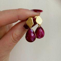 Gold Plated red Ruby teardrop earrings raw by SheRocksGemjewellery