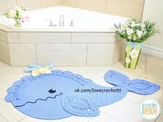 Crochet Pattern PDF for making a beautiful Whale Animal Rug or Nursery Mat with Lace Fins Crochet Whale, Crochet Animals, Crochet Baby, Crotchet, Crochet Rug Patterns, Quilt Patterns, Crochet Rugs, Animal Rug, Crochet Carpet