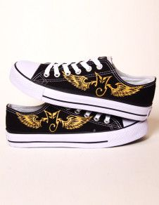 Cool Black Wings Printed Canvas Rubber Sole Lace Up Painted Shoes