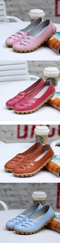 US$14.78 Big Size Soft Breathabel Slip On Hollow Out Flat Shoes