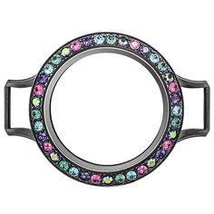 Large Gunmetal Wrap Bracelet Twist Living Locket Base + Eye Candy Face with Swarovski Crystals ❤️ Shop online anytime at crystalstary.origamiowl.com