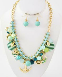 Gold Tone / Green Acrylic & Woven Cord / Lead Compliant / Anchor & Helm Charm / Necklace & Fish Hook Earring Set