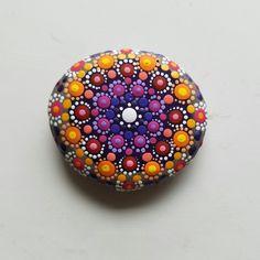 Painted Rock ~ Hand Painted Colorful Stone - Purple Pink Yellow Mandala - by Miranda Pitrone - Rock Art - Unique Home Decor - by P4MirandaPitrone on Etsy