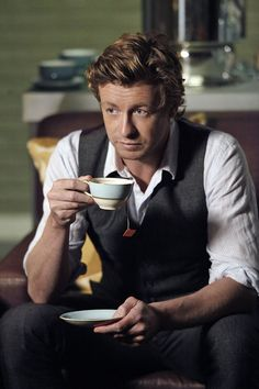 Simon Baker in The Mentalist....     Real men drink tea... Damn he is so yummy